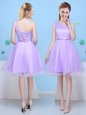 Decent Lavender Lace Up One Shoulder Bowknot Dama Dress Tulle Sleeveless