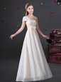 White Empire Chiffon One Shoulder Sleeveless Lace and Bowknot Floor Length Zipper Wedding Party Dress