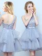 Grey A-line Organza One Shoulder Sleeveless Lace and Ruffles and Belt Mini Length Lace Up Quinceanera Dama Dress