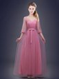 Pink Half Sleeves Floor Length Ruching and Bowknot Lace Up Bridesmaids Dress