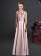 Floor Length Pink Bridesmaids Dress Straps Sleeveless Zipper