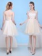 Shining Champagne Sleeveless Knee Length Bowknot Lace Up Bridesmaid Dresses