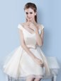 Sweet Cap Sleeves Knee Length Lace Up Dama Dress White and In for Prom and Party with Bowknot