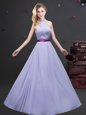 Halter Top Lavender Sleeveless Belt Floor Length Quinceanera Dama Dress
