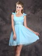 Graceful Chiffon Straps Sleeveless Zipper Ruching and Bowknot Bridesmaid Dress in Baby Blue