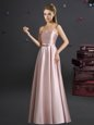 Exquisite Pink Sleeveless Floor Length Bowknot Zipper Bridesmaid Gown