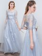 Scoop Short Sleeves Appliques and Belt Wedding Party Dress Grey Lace Up Half Sleeves Floor Length