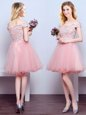 Pink Lace Up Off The Shoulder Beading and Lace Court Dresses for Sweet 16 Tulle Sleeveless