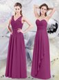 Fuchsia Side Zipper Dama Dress Lace and Ruching Sleeveless Floor Length