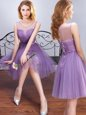 Pretty Scoop Lavender Sleeveless Tulle Lace Up Wedding Party Dress for Prom and Party and Wedding Party