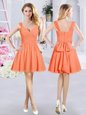 Orange A-line Chiffon Straps Sleeveless Ruching and Belt Mini Length Zipper Bridesmaids Dress