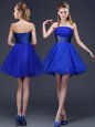Great Royal Blue Sleeveless Beading and Ruching Mini Length Court Dresses for Sweet 16