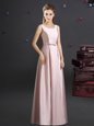 Square Pink Zipper Bridesmaid Dress Bowknot Sleeveless Floor Length