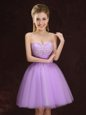Elegant Mini Length Lace Up Wedding Guest Dresses Lilac and In for Prom and Party and Wedding Party with Lace and Ruching