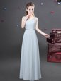 Grey Empire V-neck Sleeveless Chiffon Floor Length Zipper Ruching Wedding Guest Dresses