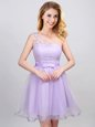 Perfect One Shoulder Mini Length Lavender Wedding Party Dress Tulle Sleeveless Lace and Appliques and Belt