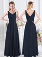 Custom Design Ruching Bridesmaid Gown Navy Blue Zipper Sleeveless Floor Length