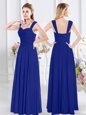 Elegant Royal Blue Straps Zipper Ruching Quinceanera Court Dresses Sleeveless