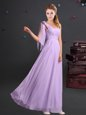 Lavender Chiffon Zipper One Shoulder Sleeveless Floor Length Dama Dress for Quinceanera Ruching