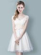 Simple Ruching and Bowknot Bridesmaid Dresses Champagne Zipper Cap Sleeves Knee Length