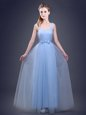 Straps Floor Length Lace Up Vestidos de Damas Light Blue and In for Prom and Party and Wedding Party with Ruching and Bowknot