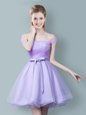 Admirable Lavender Tulle Zipper Off The Shoulder Sleeveless Knee Length Bridesmaids Dress Ruching and Bowknot