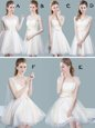 Suitable Straps Champagne Tulle Zipper Bridesmaids Dress Cap Sleeves Knee Length Ruching and Bowknot