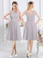 Charming Scoop Sleeveless Knee Length Ruching Zipper Wedding Party Dress with Grey