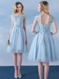 Scoop Light Blue Tulle Lace Up Wedding Party Dress Cap Sleeves Knee Length Appliques and Belt