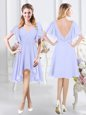 Short Sleeves High Low Ruching Zipper Bridesmaid Dress with Lavender