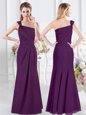 Suitable Floor Length Purple Bridesmaid Gown One Shoulder Sleeveless Side Zipper