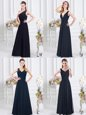 One Shoulder Navy Blue Sleeveless Ruching Floor Length Vestidos de Damas