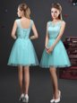 Chic Scoop Sleeveless Tulle Wedding Guest Dresses Lace and Appliques and Belt Lace Up