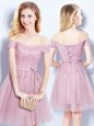 Dazzling Pink Tulle Lace Up Off The Shoulder Sleeveless Mini Length Bridesmaid Dresses Appliques and Belt