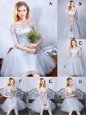 Scoop Sleeveless Lace Up Quinceanera Court Dresses Grey Tulle