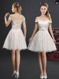 Affordable A-line Wedding Party Dress Champagne Off The Shoulder Lace Sleeveless Knee Length Lace Up