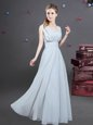 Grey Chiffon Zipper Square Sleeveless Floor Length Quinceanera Court of Honor Dress Ruching