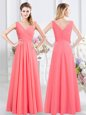 Watermelon Red Bridesmaid Gown Prom and Party and Wedding Party and For with Ruching Sleeveless Zipper