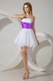 White And Purple A-line Organza Strapless Sleeveless Beading Mini Length Zipper Bridesmaid Dress