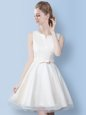Suitable White Lace Up Scoop Bowknot Quinceanera Dama Dress Tulle Sleeveless