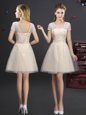 Fine Champagne A-line V-neck Short Sleeves Tulle Mini Length Lace Up Lace and Appliques and Belt Damas Dress