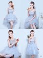Grey Bridesmaid Dress Prom and Party and Wedding Party and For with Lace and Ruffles and Ruffled Layers and Bowknot Scoop Sleeveless Lace Up