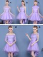 Admirable V-neck Sleeveless Bridesmaid Dresses Mini Length Lace and Appliques and Belt Lavender Organza