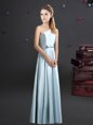 High Quality Light Blue Zipper One Shoulder Bowknot Bridesmaid Dresses Elastic Woven Satin Sleeveless
