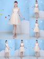 Graceful Champagne Tulle Lace Up Bridesmaids Dress Sleeveless Knee Length Bowknot
