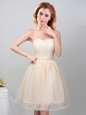 Custom Fit Champagne A-line Tulle Sweetheart Sleeveless Lace and Appliques Mini Length Lace Up Bridesmaid Dress