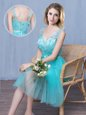Lace and Appliques and Bowknot Quinceanera Court Dresses Aqua Blue Lace Up Sleeveless Knee Length