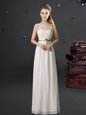 Dynamic See Through Empire Vestidos de Damas White Scoop Chiffon Sleeveless Floor Length Lace Up