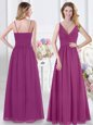 Fuchsia Sleeveless Ruching Floor Length Vestidos de Damas