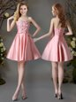 Appliques and Bowknot Bridesmaid Dress Pink Lace Up Sleeveless Mini Length